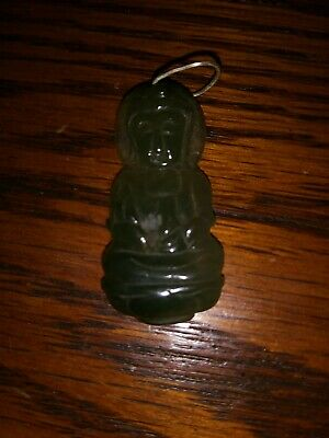 Antique Chinese Carved Natural Jade Budda Pendant Silver Clasp