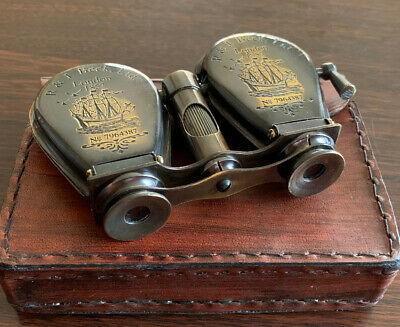 Solid Brass Folding Nautical Binoculars With Leather Case Ships From Melbourne