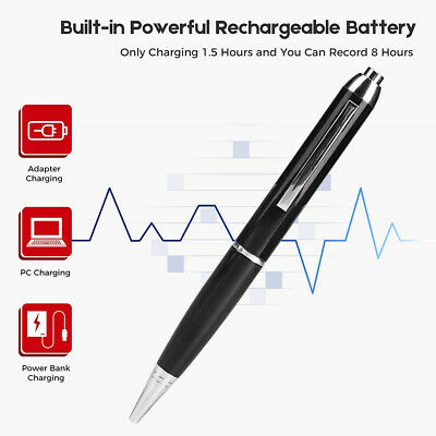 Hidden Voice Activated Recorder Pen Mini 16GB Sound Audio Rechargeable MP3 New