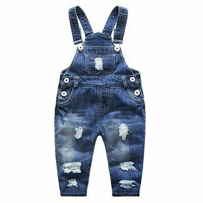 Designer Brand Girls Pants Blue Size 12 Straight Leg Distressed Overalls- 803