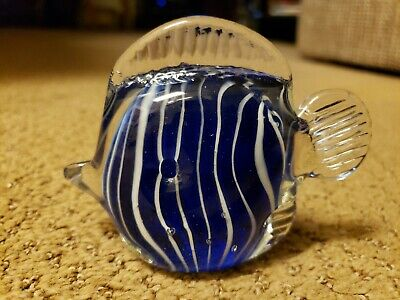 """Art Glass Hand Blown Tropical Fish~White Stripes, Clear, Blue Paperweight 3""""tall"""