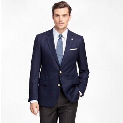 Brooks Brothers Sz 44R Navy Wool Explorer Fitzgerald Fit Two Button Suit Jacket