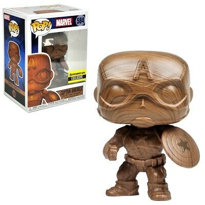 Funko Pop! Marvel #584 Captain America Wood Deco Entertainment Earth Exclusive