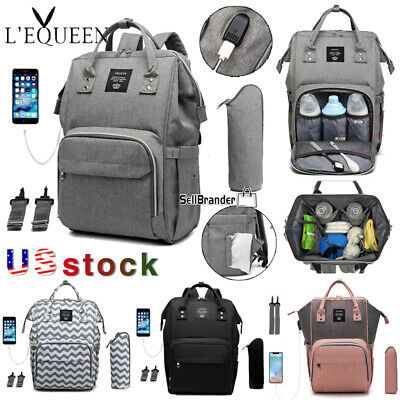 LEQUEEN Baby Care Nappy Diaper Bag USB Charging Mummy Stroller Nursing  Backpack