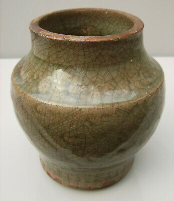 Chinese Longquan incised celadon jar Ming dynasty 16th century