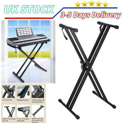 Heavy Duty Folding Adjustable Keyboard Stand Double X Frame Mount Metal Rack