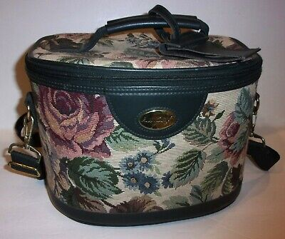 """Gloria Vanderbilt~GREEN Floral TAPESTRY Footed CARRY-ON TRAVEL CASE 12 x 7 x 9"""""""