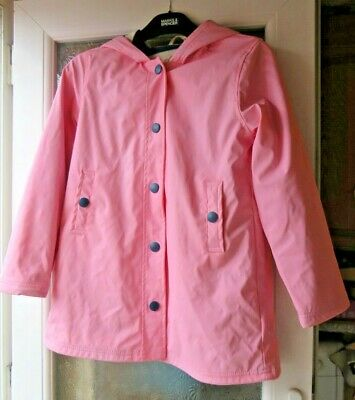 Hatley, Pink, Girls Raincoat With Blue / White Striped Lining Age 12 Bnwot