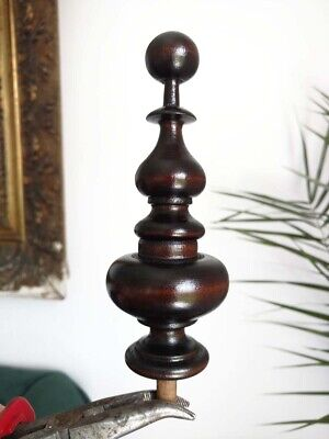 Wooden Finial,Turned  To The Clock Ansonia