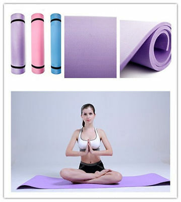 Yoga Mat 6mm Thick Exercise Fitness Physio Pilates Gym Mats Non Slip Carrier j8