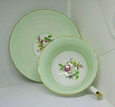 SHELLEY FINE BONE CHINA TEA WARE Mint Green & rose pattern CUP & SAUCER