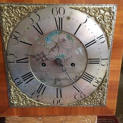 Antique GRANDFATHER CLOCK complete: Dial, 8 Day Movement, weights ROBERTS OTLEY