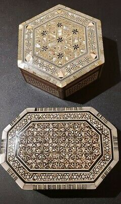 Pair of Handmade Egyptian Wood Jewelry/Trinket Boxes with Inlaid Mother of Pearl