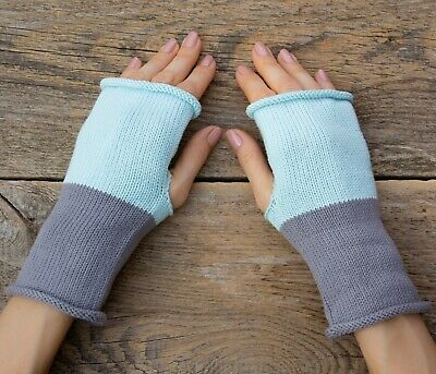 Light blue gray fingerless mittens knitted cotton womens gloves autosexual pride