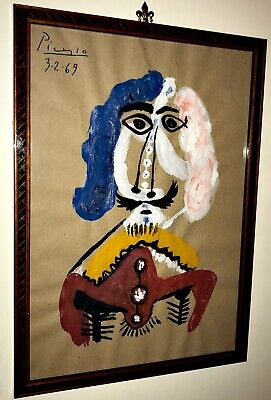 PABLO PICASSO PAINTING ON ORIGINAL PAPER  HAND SIGNED(no Warhol,Matisse)