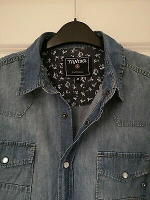 Terranova Denim Style Shirt Mens Medium Slim Fit Pearl Snap Poppers Casual