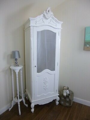 French Bordeaux Single Armoire Wardrobe In White - Shabby Chic Style Wardrobe