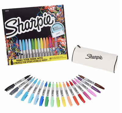 Sharpie Fine Permanent Markers Limited Edition Pack of 18 FREE PENCIL CASE