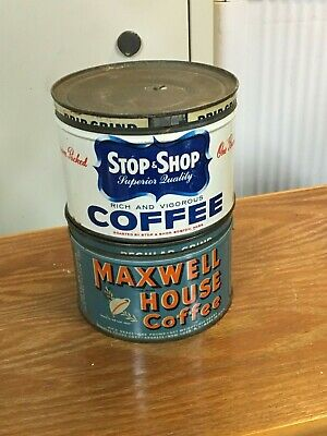 2 Antique metal tin coffee cans Maxwell House and Stop & Shop NICE! See Pics!