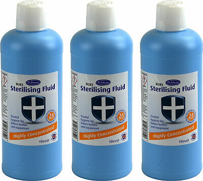3 Bottles of Dr Johnson's Concentrated Sterilising Fluid 1L Bottle