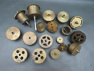 Job lot of vintage clock barrels some with springs - parts spares steampunk