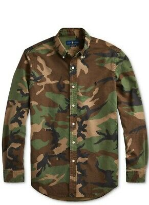 NWT Polo Ralph Lauren Men's Classic Camouflage Camo Green Oxford DRESS Shirt