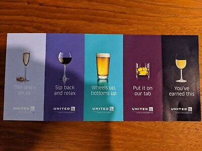 Five (5x) United Airlines Drink Alcohol Coupons Vouchers Economy Exp. 2022-01-31