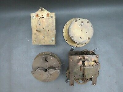 Job lot of 4 vintage clock movements for repair parts or steampunk