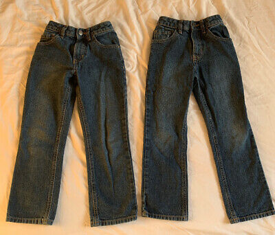 Age 6 - 7Yrs - By George Boys Blue Jeans With Zip & Button - Adjustable  Waist