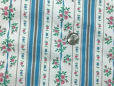 "Vintage pillow ticking cotton fabric blue stripe pink floral BTY,42""w"
