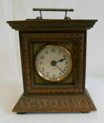 Beautiful Wooden Mantle Clock approx 21 cm tall