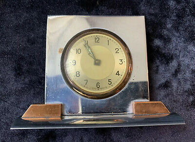 Art Deco French Chrome Desk Clock - In Good Working Order