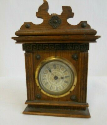 Pretty Small Wooden Mantle Clock approx  16cm tall