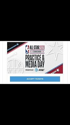 2 Tickets 2020 NBA ALL STAR GAME PRACTICE / MEDIA DAY  FEB 15 CHICAGO WINTRUST