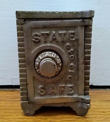 "Antique Cast Iron ""Coin Deposit Bank"" Combination Door Safe Penny Still Bank"