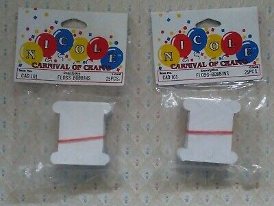 Nicole Carnival of Crafts Cardboard Floss Bobbins - Two 25 count packages*NEW*.