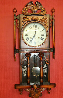 Old particular Wall Clock Chime Clock Regulator handcarved *CONCORDIA* 31 DAY