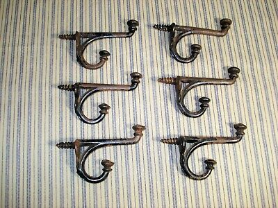 Lot 6 Vintage Antique Cast Iron Double Screw In Coat Hooks Hat Towel