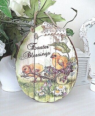 """Retro EASTER CHICK IN CART  WOOD EASTER PLAQUE 9 1/2"""" x  7 1/2""""   New w/ Tag"""