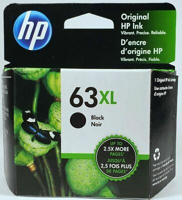 HP #63XL Black Ink Cartridge F6U64AN NEW GENUINE