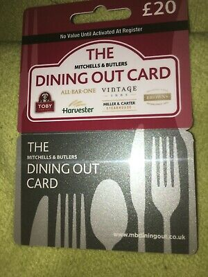 £20.00  Mitchells & Butlers Dining Out Card Expires 2021