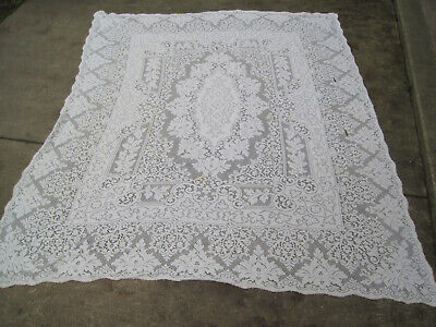 """Vtg Tablecloth OFF WHITE Quaker Lace? W/ Picot Loops Edge 66x82""""-CUTTER?"""