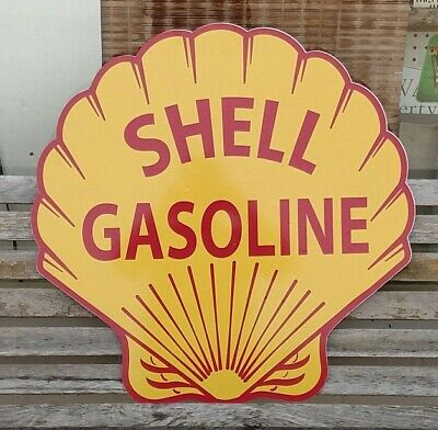 "Shell Gasoline 24"" Aluminum Sign Gas & Oil Pump Decal Reproduction"