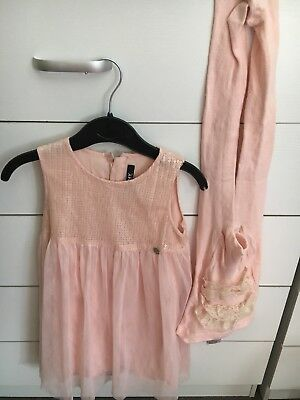 Original DKNY Dress For Baby Girl  3 Years (50£) Plus Matching Frilly Tights Vgc