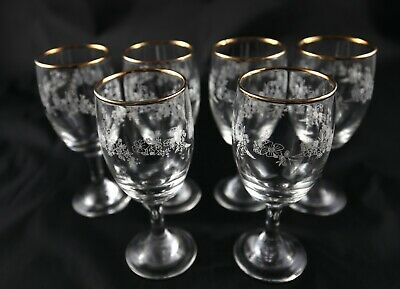 6 small floral patterned gold banded Crystal sherry port or liqueur glasses