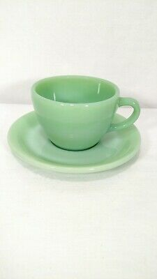 Fire-King Oven Ware Jadeite Heavy Restaurant C-handle Coffee Cups Saucer 1940s
