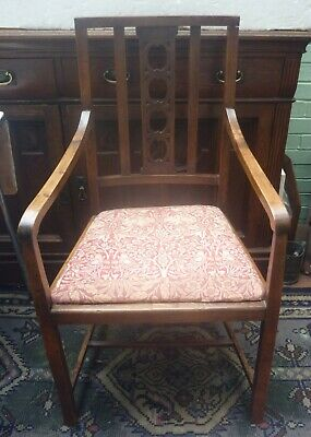 ARTS & CRAFTS style OAK ARMCHAIR with William Morris design fabric