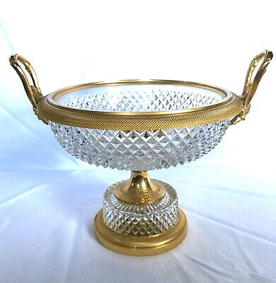 Baccarat - Neoclassical French Cut Crystal & Ormolu Centerpiece Compote