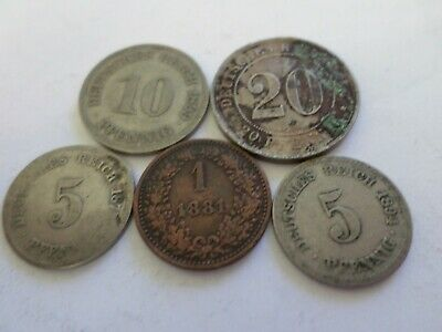 Old German Coins Copper and Nickel 1873-1899 Nice Condition