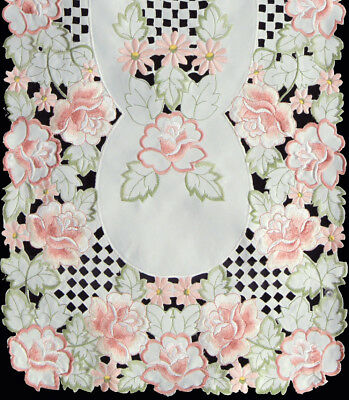 Spring Embroidered Rose Daisy Floral Placemat Table Runner Tablecloth Topper